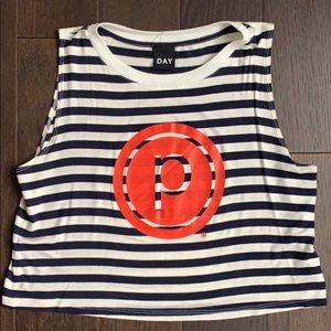 Pure Barre Circle P Striped Crop Tank Top